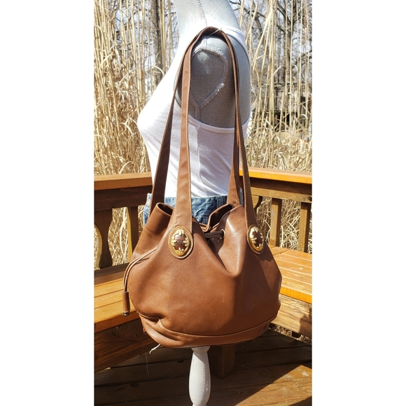 Francensco Biasia Leather Drawstring Bucket Bag